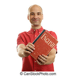 Education concept Learn English Handsome man with book...
