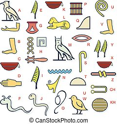 Egypt hierogliph alphabet - Vector illustration for ancient...