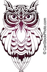 Owl tattoo - Vector illustration with owl tattoo isolated on...