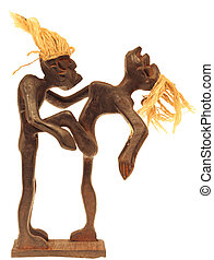 magic wooden african statue  isolated on white background