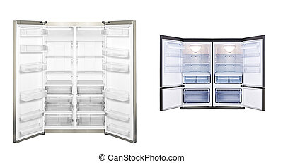 refrigerator with open door isolated - refrigerators with...