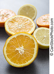 citrus fruit slices on table, close up