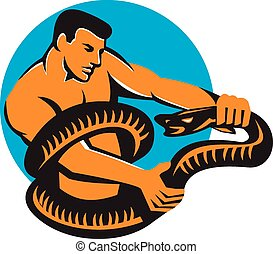 Man Fighting Boa Constrictor Snake Retro - Illustration of a...