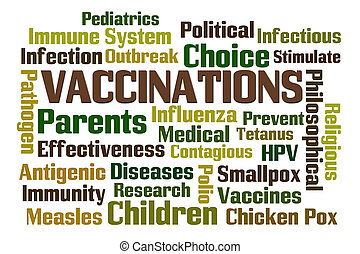 Vaccinations word cloud on white background