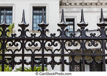 Wrought Iron Fence Detail - Old ornamental wrought iron...