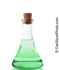 glass bottle with green liuqid