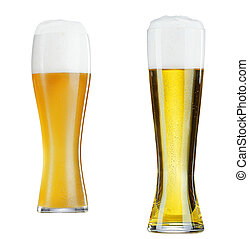 two glasses of beer close-up with froth