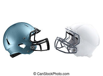 two American football helmets isolated