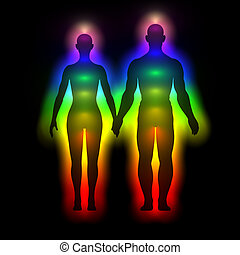 Rainbow silhouette with aura - woman and man - Illustration...
