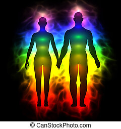 Rainbow aura of woman and man - 3d illustration of rainbow...