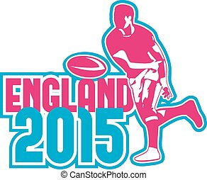 Rugby Player Passing Ball England 2015 Retro - Illustration...