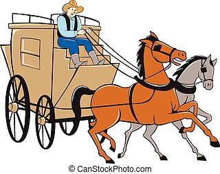 Stagecoach Driver Horse Cartoon - Illustration of a...