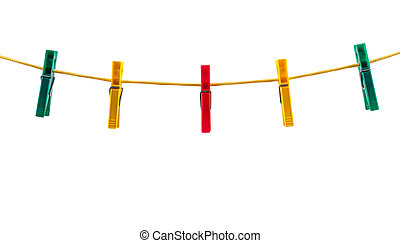 Colorful clothes pegs on a rope isolated on white background...
