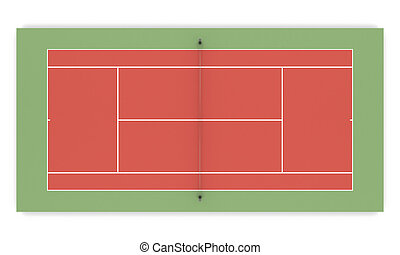3d illustration tennis court front view