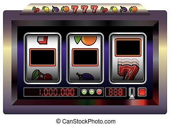 Slot Machine Blank - Slot machine with three blank reels to...