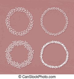 Wreaths Collection - Round handdrawn wreaths on texturized...