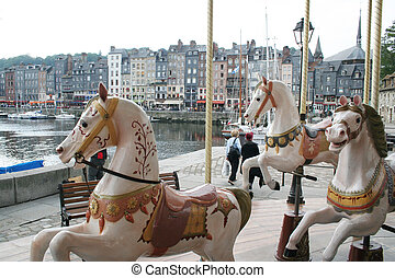 Merry go round in Honfleur, France
