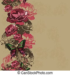 Seamless background with ribbon roses and butterflies Vector...