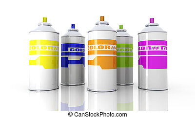 Color Aerosol Cans - 3D rendered Illustration.