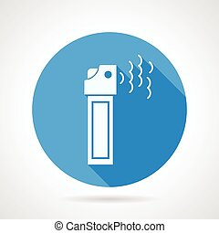 Tear pepper spray flat vector icon - Blue round vector icon...