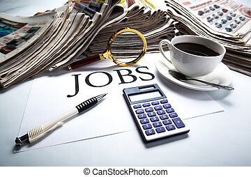 job search still life with title jobs - title jobs with...