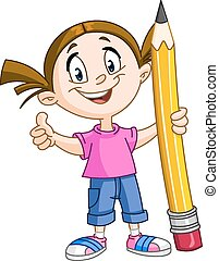 Girl holding big pencil - Young girl holding a big pencil...