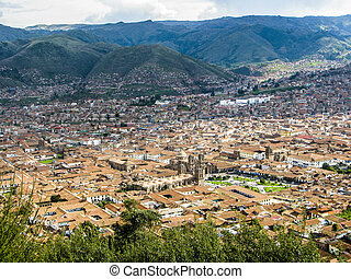 Cuzco, Peru - aerial view from Cuzco in Peru with hills
