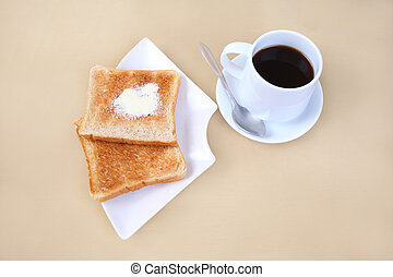 Toasts with coffee