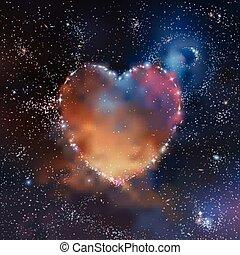 Space heart - Stars, nebulas and galaxies heart shaped...