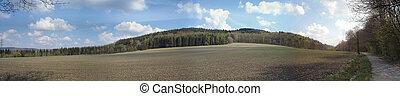 Hiking in spring - Landschaft im Erzgebirge in Sachsen;...
