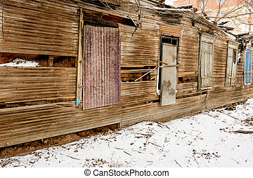 Ruins of the old wooden house Astrakhan, Russia