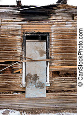 Old abandoned window, detail of a window of a house in...