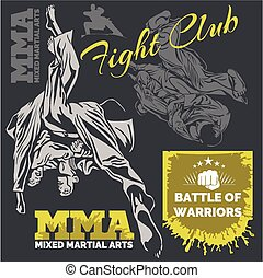 MMA Labels - Vector Mixed Martial Arts Design. - MMA Fight...