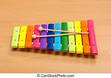 xylophone  on a  wooden table