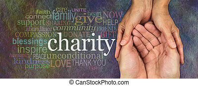 Please give generously - Wide banner with a woman's hands...