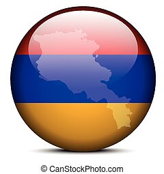 Map on flag button of Republic of Armenia