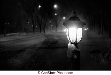 snowy night blizzard streetlight lantern , Sorel-Tracy, Qc,...