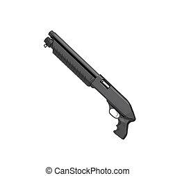 Black shotgun isolated