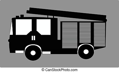 black firetruck on gray background