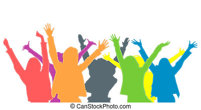 Crowd - Illustration of group of people of different colours