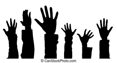 Hands - Illustration of different hands lifted upwards, as a...