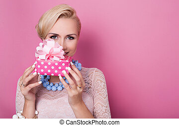 Gift, women, present - Happy birthday. Sweet blonde woman...