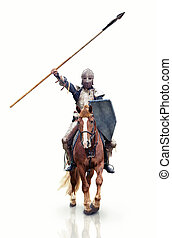 Medieval knigt with the lance riding the horse. - Medieval...