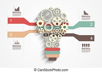 Light bulb paper cut with gears and copyspace, 3d render,...