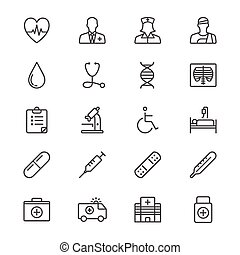 Health care thin icons - Simple vector icons Clear and sharp...