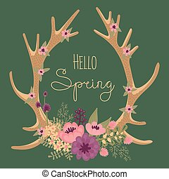 Vintage card with deer antlers and flowers. Vector...