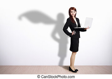 Superhero Business Woman with computer - Superhero Business...