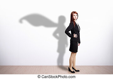 Superhero Business Woman with white wall background, great...