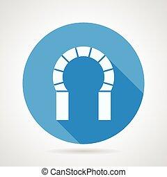 Flat round icon for brick horseshoe - Flat round blue vector...
