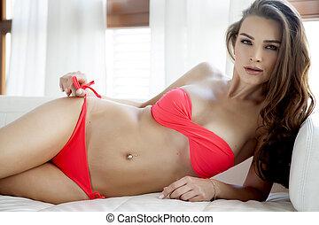 Beautiful and sexy woman in red bikini - Beautiful and sexy...